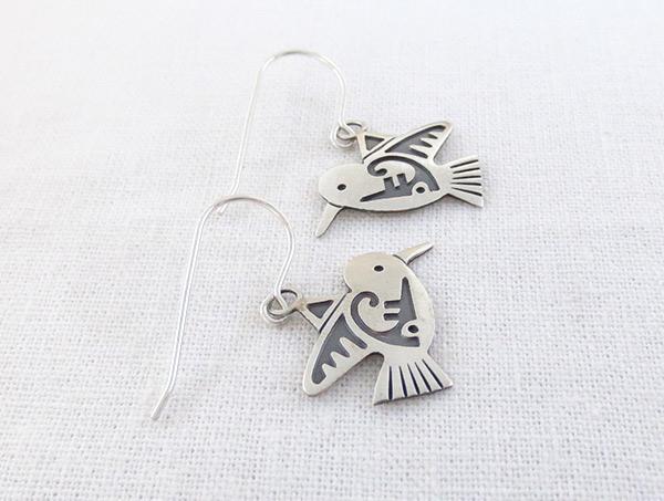 Image 1 of     Sterling Silver Hummingbird Earrings Navajo Jewelry -2359sn