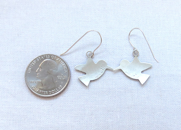 Image 2 of     Sterling Silver Hummingbird Earrings Navajo Jewelry -2359sn