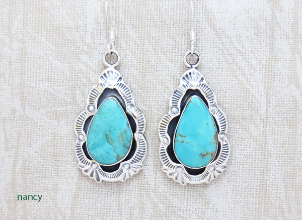 Image 0 of Turquoise & Stamped Sterling Silver Earrings Native American Jewelry - 2358rb