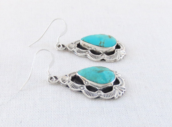Image 1 of Turquoise & Stamped Sterling Silver Earrings Native American Jewelry - 2358rb