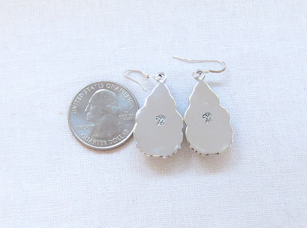Image 2 of Turquoise & Stamped Sterling Silver Earrings Native American Jewelry - 2358rb