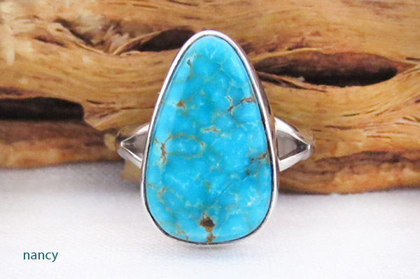 Image 0 of         Turquoise & Sterling Silver Ring Sz 7 Native American Jewelry - 2354sn