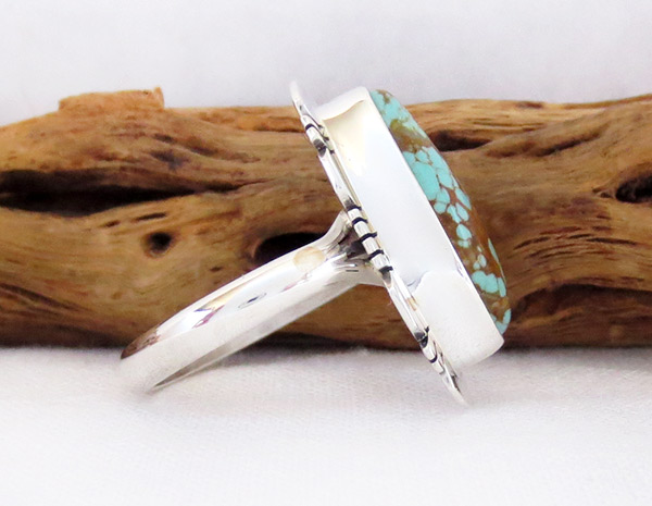 Image 1 of   Native American Jewelry #8 Mine Turquoise & Sterling Silver Sz 8 - 2506sn