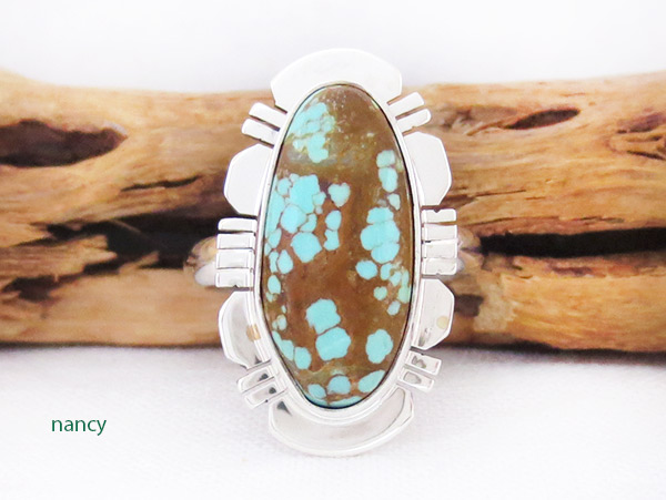 Native American Jewelry #8 Mine Turquoise & Sterling Silver Sz 8 - 2506sn