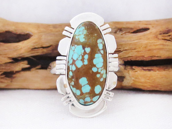 Image 3 of   Native American Jewelry #8 Mine Turquoise & Sterling Silver Sz 8 - 2506sn