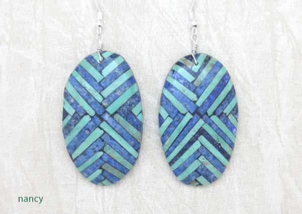 Image 0 of BIG Mosaic Turquoise Inlay Earrings Santo Domingo Jewelry - 2503rio