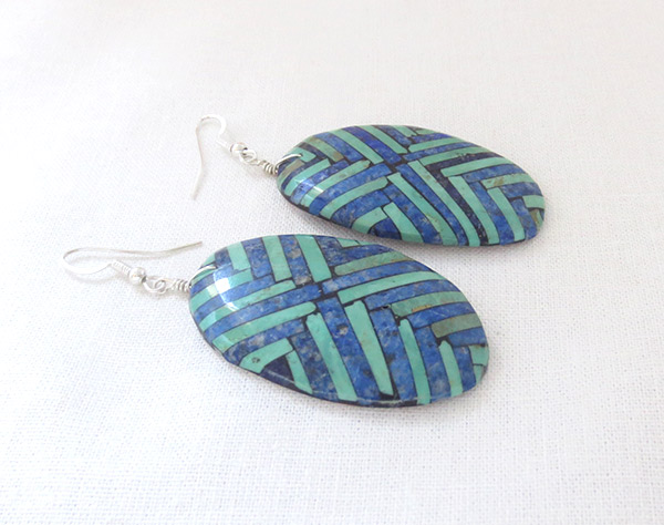 Image 1 of BIG Mosaic Turquoise Inlay Earrings Santo Domingo Jewelry - 2503rio