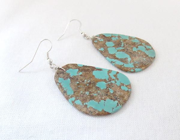 Image 1 of    Huge Turquoise Slab Earrings Native American Jewelry - 2504rio