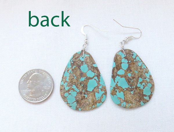 Image 2 of    Huge Turquoise Slab Earrings Native American Jewelry - 2504rio
