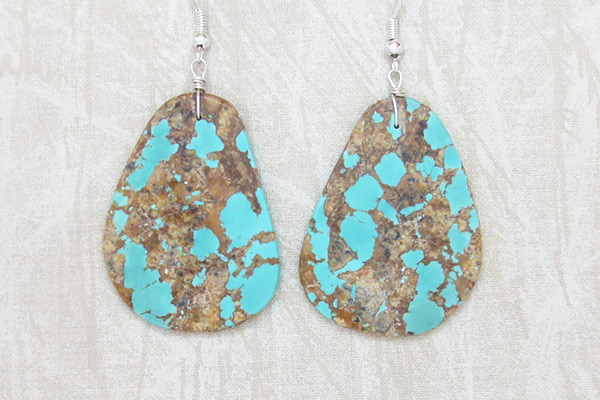 Image 0 of    Huge Turquoise Slab Earrings Native American Jewelry - 2504rio
