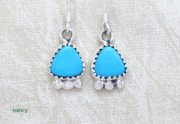 Image 0 of   Little Turquoise & Sterling Silver Earrings Native American Jewelry - 2501rb