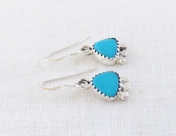 Image 1 of   Little Turquoise & Sterling Silver Earrings Native American Jewelry - 2501rb
