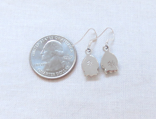 Image 2 of   Little Turquoise & Sterling Silver Earrings Native American Jewelry - 2501rb