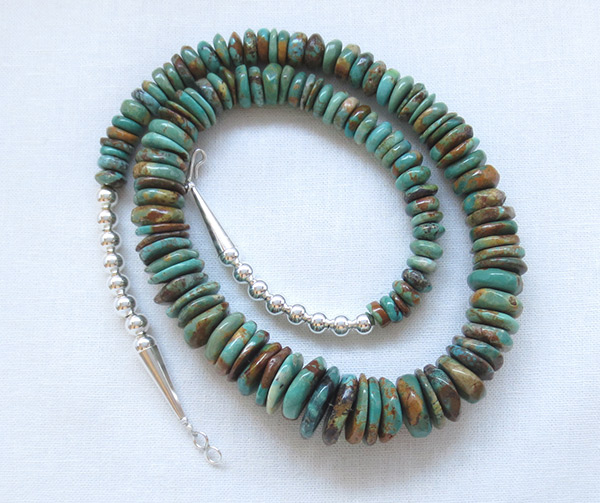 Turquoise & Sterling Silver Necklace 21 Native American Jewelry - 2509rb