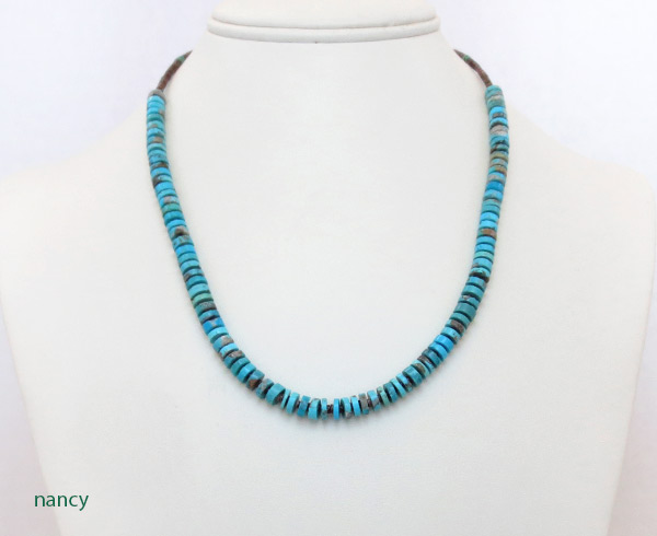 Image 1 of    Turquoise Disk & Heishi Necklace Native American Jewelry - 2510sn