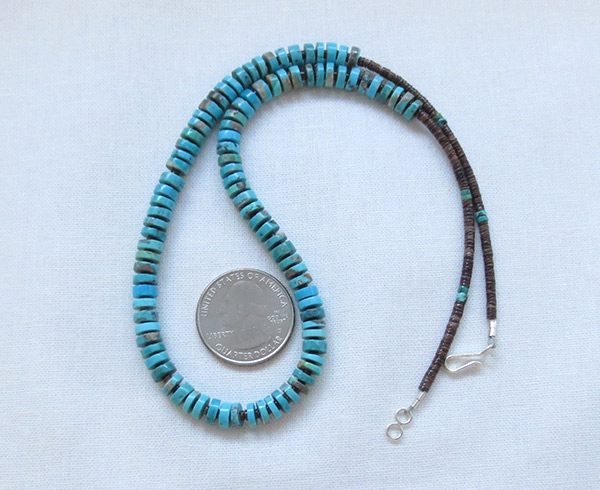 Image 2 of    Turquoise Disk & Heishi Necklace Native American Jewelry - 2510sn