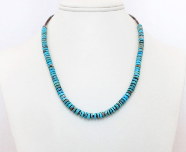 Image 0 of    Turquoise Disk & Heishi Necklace Native American Jewelry - 2510sn
