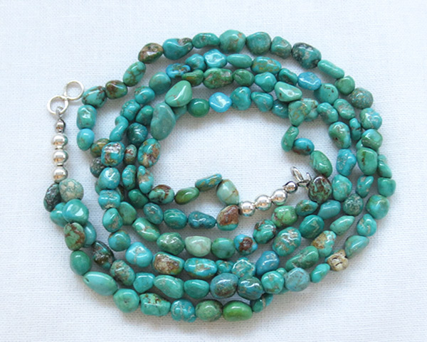 Sterling Silver & Turquoise 2 Strand Necklace 18 Navajo Jewelry - 2519sn