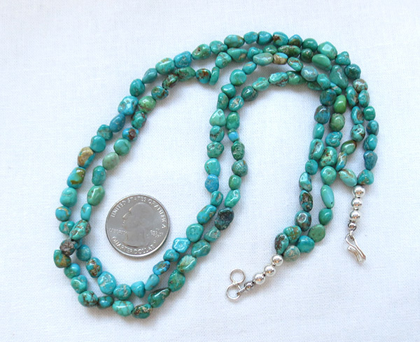 Image 2 of    Sterling Silver & Turquoise 2 Strand Necklace 18