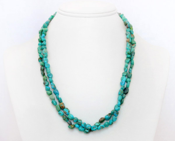 Image 1 of    Sterling Silver & Turquoise 2 Strand Necklace 18
