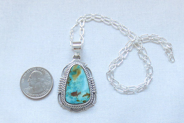Image 1 of Royston Turquoise & Sterling Silver Pendant Native American Jewelry - 2512br
