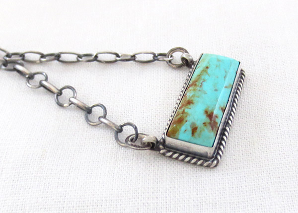 Image 2 of Turquoise & Sterling Silver Pendant Necklace Native American Jewelry - 2517dt