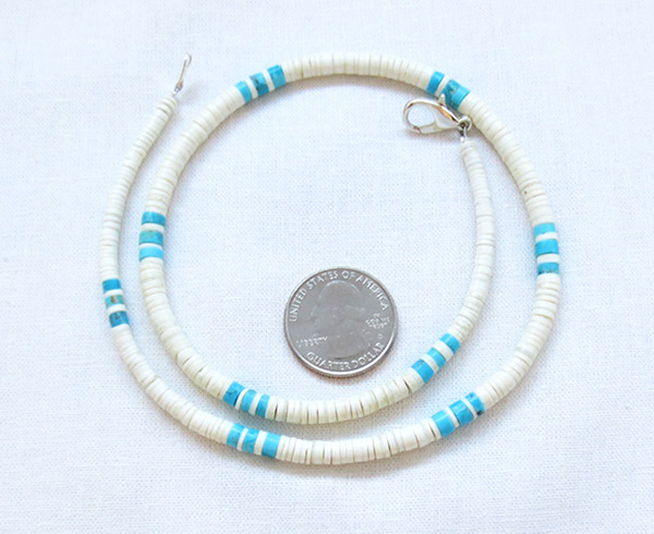 Turquoise White Clam Shell Heishi Necklace Santo Domingo Jewelry - 2516rio