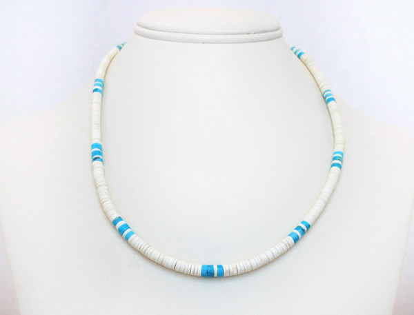 Image 1 of    Turquoise White Clam Shell Heishi Necklace Santo Domingo Jewelry - 2516rio