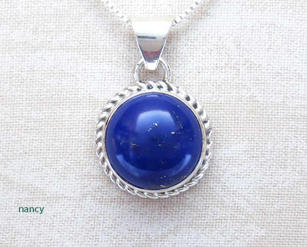 Image 0 of Small Lapis & Sterling Silver Pendant w/Chain Native American Jewelry - 2512rio