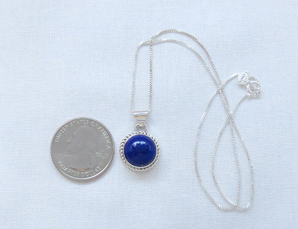 Image 1 of Small Lapis & Sterling Silver Pendant w/Chain Native American Jewelry - 2512rio