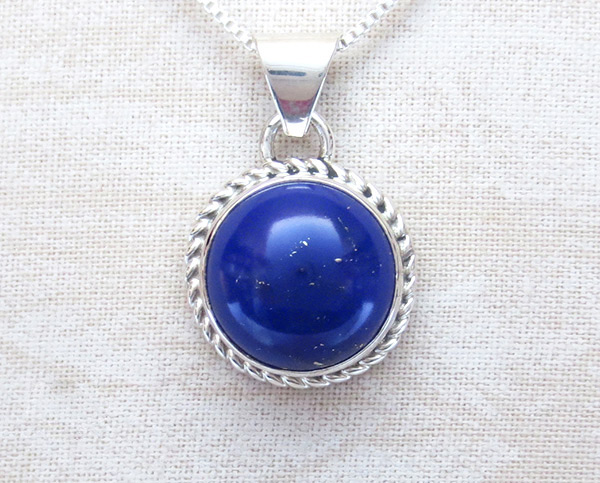 Lapis & Sterling Silver Pendant w/Chain Native American Jewelry - 2512rio