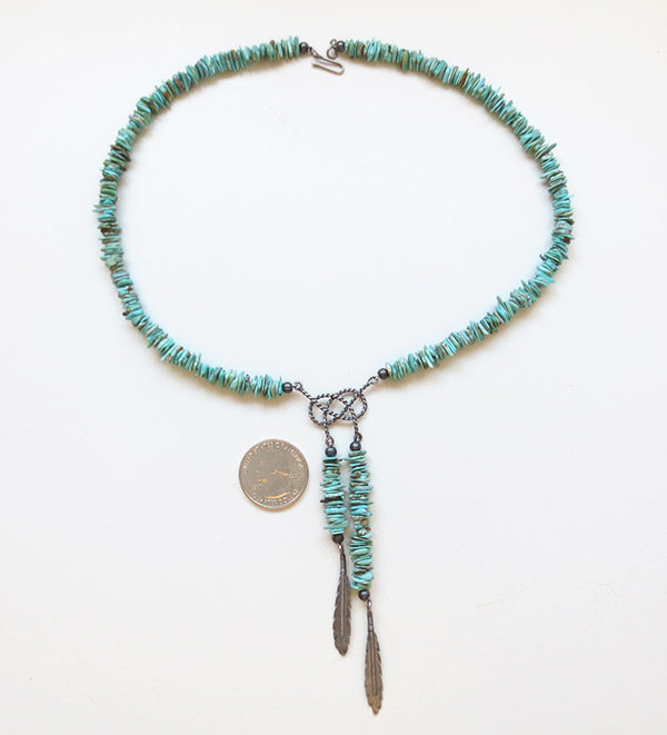 Image 2 of   Turquoise & Sterling Silver Necklace Native American Jewelry - 1913ft