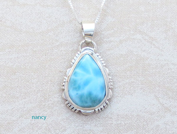 Image 0 of Small Larimar & Sterling Silver Pendant w/Chain Native American Jewelry - 4740at