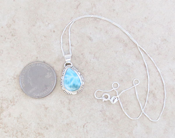 Image 1 of Small Larimar & Sterling Silver Pendant w/Chain Native American Jewelry - 4740at