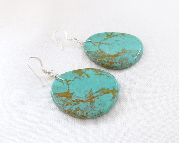 Image 1 of    Large Turquoise Slab Earrings Native American Jewelry - 2521rio