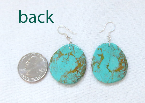Image 2 of    Large Turquoise Slab Earrings Native American Jewelry - 2521rio