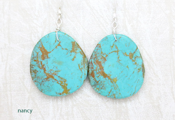 Image 0 of    Large Turquoise Slab Earrings Native American Jewelry - 2521rio