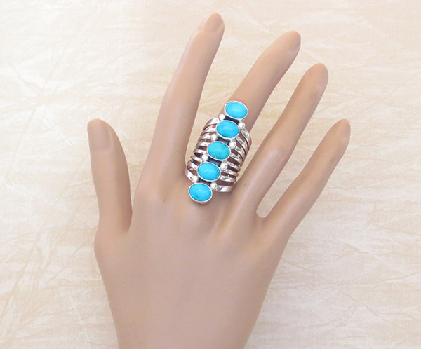 Huge Turquoise & Sterling Silver Ring Sz 9 Native American Jewelry - 2528rb