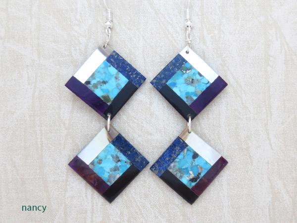 Image 0 of    Turquoise Mop Jet Lapis Inlay Earrings Santo Domingo Jewelry - 2523rio