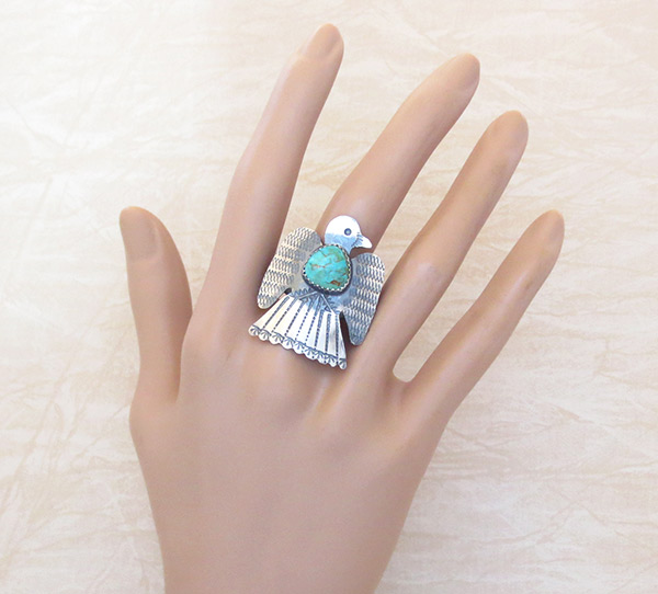 Image 1 of     Navajo Jewelry Turquoise & Sterling Silver Thunderbird Ring Sz 8.25 - 2529rb