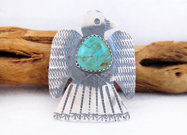 Navajo Jewelry Turquoise & Sterling Silver Thunderbird Ring Sz 8.25 - 2529rb