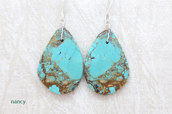 Image 0 of Turquoise Slab Earrings Native American Jewelry - 2530rio