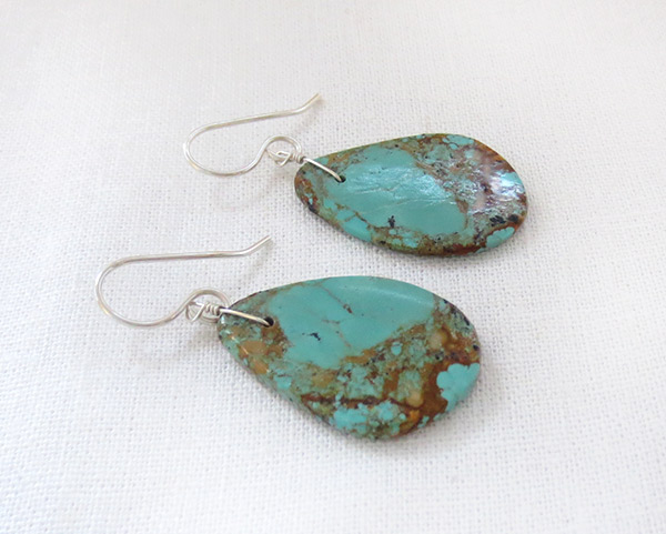 Image 1 of Turquoise Slab Earrings Native American Jewelry - 2530rio