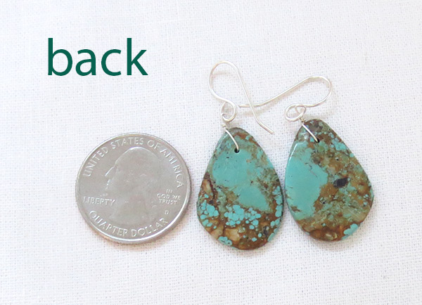 Image 2 of Turquoise Slab Earrings Native American Jewelry - 2530rio