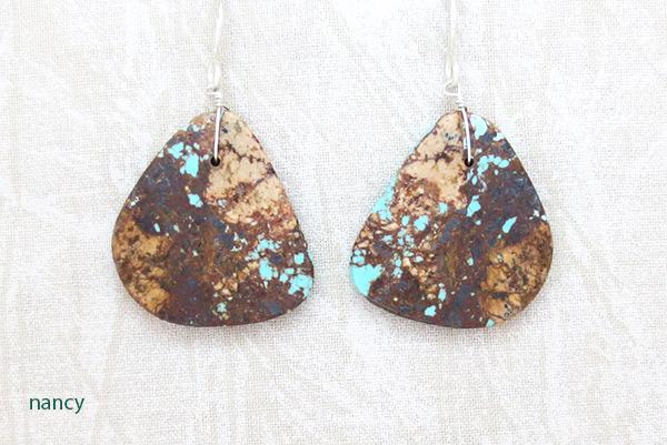 Image 0 of     Santo Domingo Earthy Turquoise Slab Earrings - 2531rio