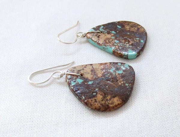 Image 1 of     Santo Domingo Earthy Turquoise Slab Earrings - 2531rio