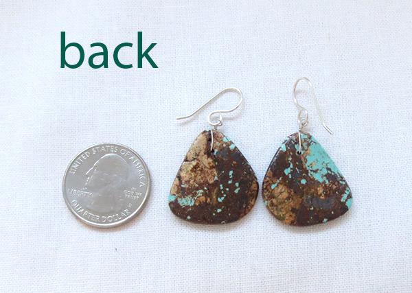 Image 2 of     Santo Domingo Earthy Turquoise Slab Earrings - 2531rio