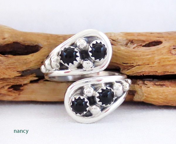 Black Onyx & Sterling Silver Adjustable Ring Native American Jewelry - 2537rb