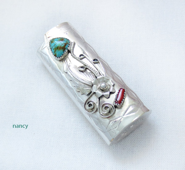 Image 0 of Turquoise Coral & Sterling Silver Lighter Case Native American Made - 2536rb