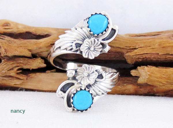 Turquoise & Sterling Silver Adjustable Ring Native American Jewelry - 2540rb